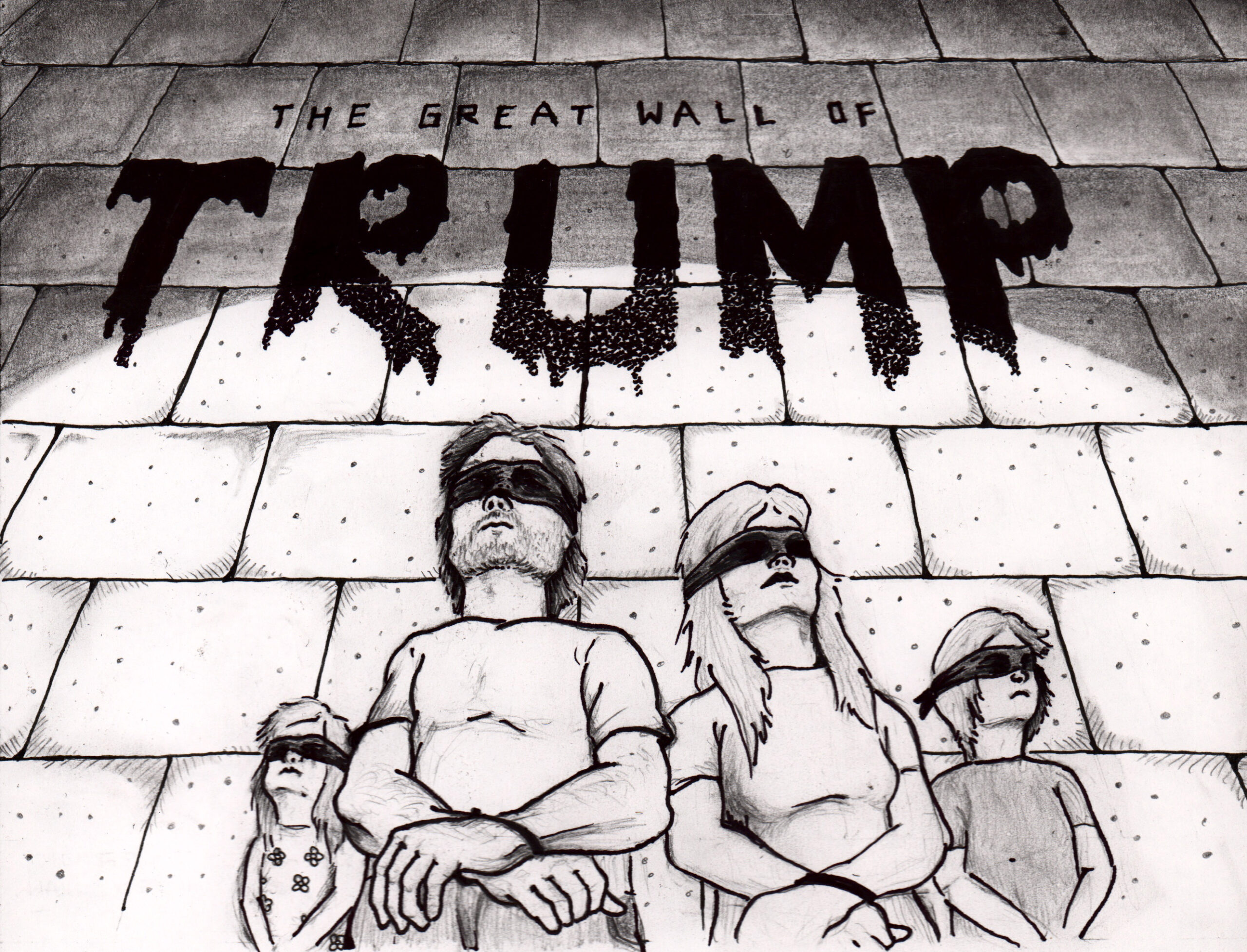 An American family stands against a wall blind folded and their hands tied. The wall is illuminated with a spot light and the word TRUMP is written above them in a dripping substance.
