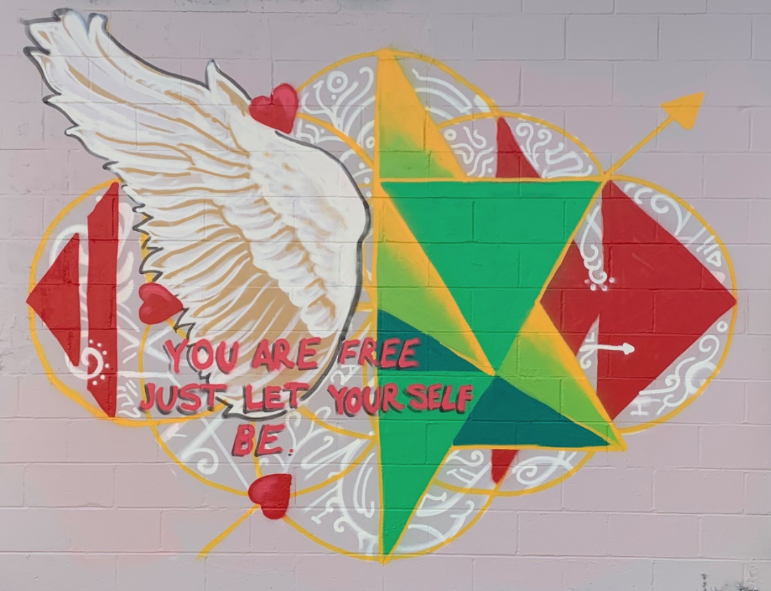 Heartspace Art_Murals with a Message_Murals_Painted Mural_Mural_Art_Jacksonville, FL_You Are Free_Freedom_Wings_Angels_Sacred Geometery_Wall Mural