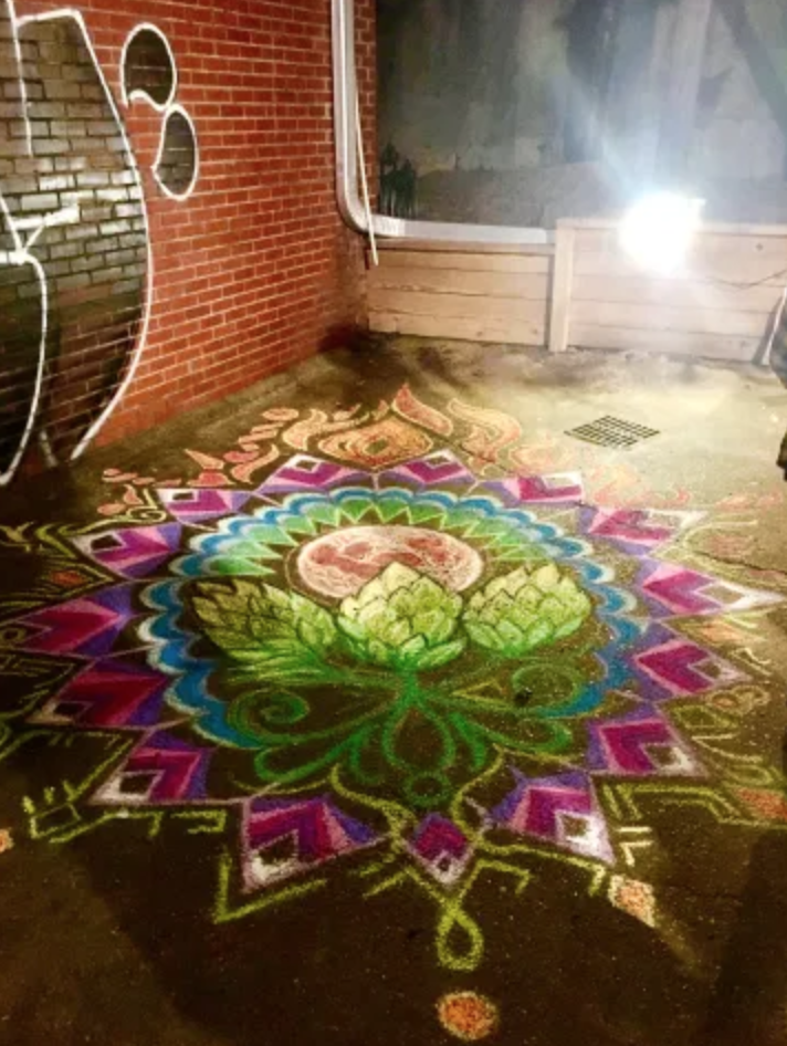 Heartspace Art_Murals with a Message_Murals_Chalk Mural_Art_Mandala_Hops and Habanas Brewery_Jackson_Mississippi, MI, Art_Beer_