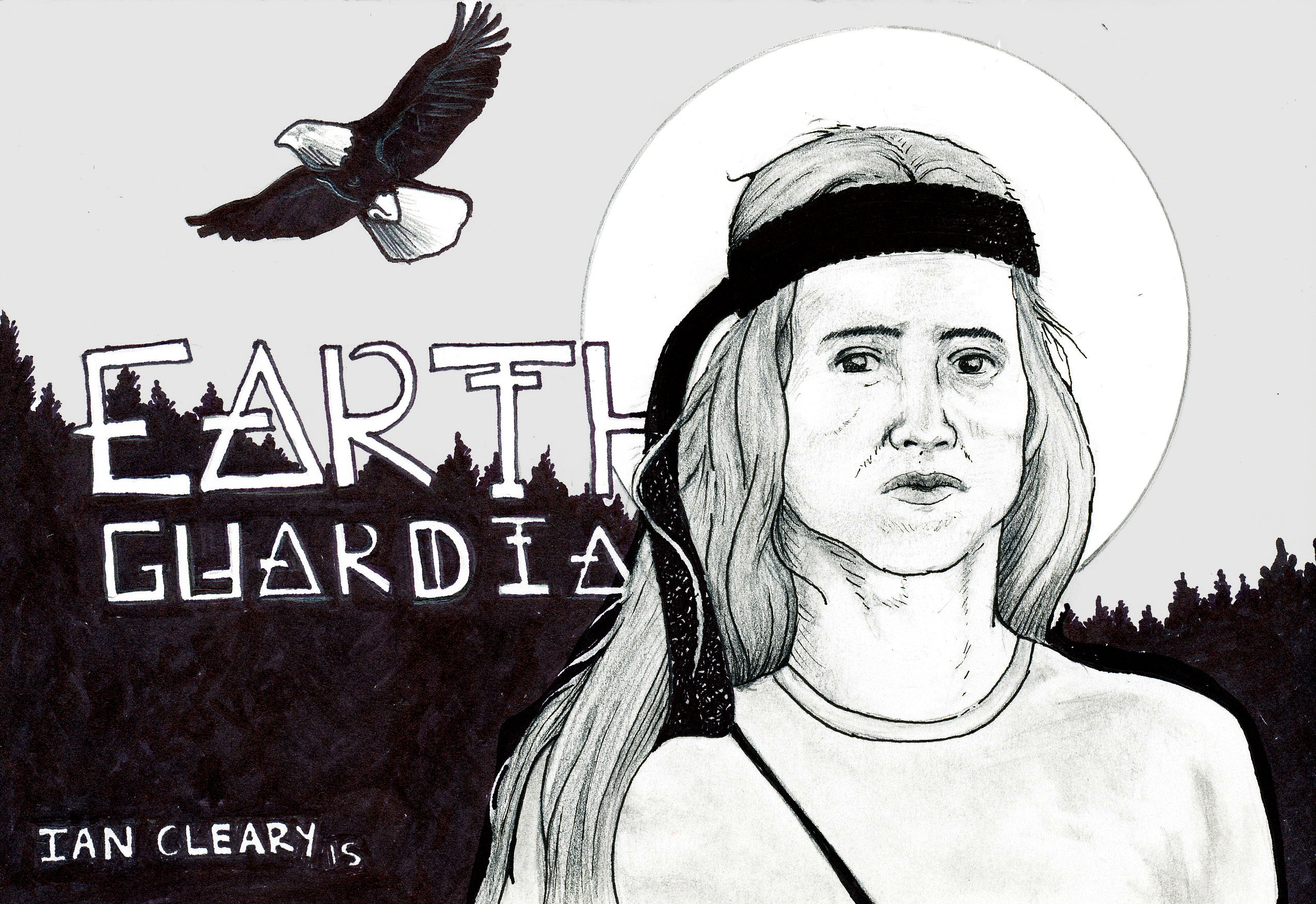 Xiuhtezcatl Martinez of the Earth Guardians with an eagle flying behind him illustrated in an activist cartoon.