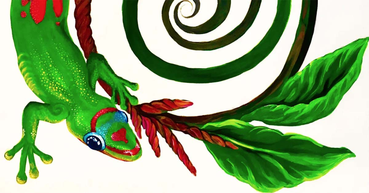The image is a painting of a Rainbow Day Gecko and a Asian Citrus Swallow Tail Butterfly on top of a spiral.