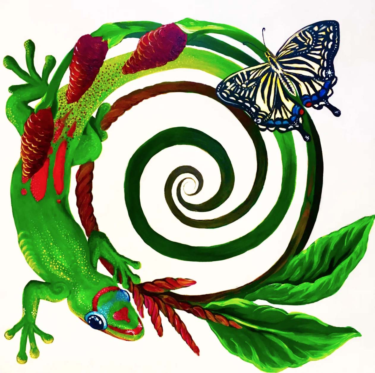 The image is a painting of a Rainbow Day  Gecko and a Eastern Swallow Tail Butterfly on top of a spiral.