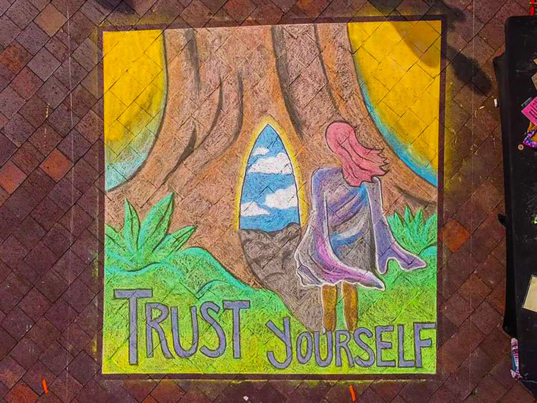 Trust Yourself - Chalk Mural @ Art in the Park chalk art competition. Art in the Park was held at James Weldon Johnson Park in downtown Jacksonville.