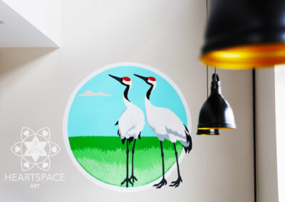Red Crown Cranes - Japanese - Asian - Restaurant - Mural - Hand Painted- St. Augustine - Florida - Heartspace Art - Murals with a message