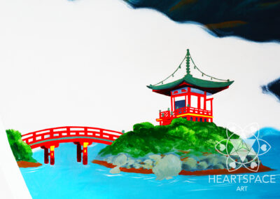 Pagoda - bridge- Japanese - Asian - Restaurant - Mural - Hand Painted- St. Augustine - Florida - Heartspace Art - Murals with a message - Nocatee - Sushi Bar
