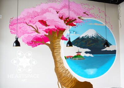 Cherry Blossom Tree - Mount. Fuji - Pagoda - bridge- Japanese - Asian - Restaurant - Mural - Hand Painted- St. Augustine - Florida - Heartspace Art - Murals with a message - Nocatee - Sushi Bar